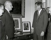 Los Presidentes Jorge Alessandri y John F. Kennedy, en la Embajada de Chile.<br /> <br /> 11 January 1962