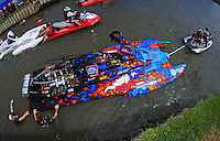 Jul. 18, 2009; Augusta, GA, USA; IHBA top fuel hydro driver Scotty Lumbert is towed to the starting line prior to qualifying for the Augusta Southern Nationals on the Savannah River. Mandatory Credit: Mark J. Rebilas-