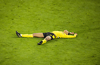 14th April 2021; Induna Park, Dortmund, Germany; UEFA Champions League Football quarter-final, Borussia Dortmund versus Manchester City; Jude Bellingham BVB disappointed after the loss