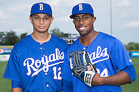 Anderson Miller (12) and Alex Newman (24) pose for a photo prior to the game against the Danville Braves at Burlington Athletic Park on July 12, 2015 in Burlington, North Carolina.  The Royals defeated the Braves 9-3. (Brian Westerholt/Four Seam Images)