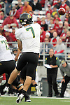 Oregon quarterback, Nate Costa (#7), fires a pass during the Ducks Pac-10 conference game against the Washington State Cougars at Martin Stadium in Pullman, Washington, on October 9, 2010.  In a game that went back and forth early in to the fourth quarter, Oregon finally prevailed over the Cougars, 43-23.