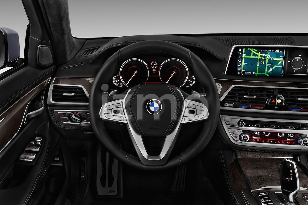 Car pictures of steering wheel view of a 2017 BMW 7 Series 740i 4 Door Sedan Steering Wheel
