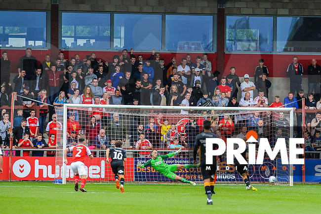 Bradford City's forward Eoin Doyle (9) slots away the pen to make it 1-1 during the Sky Bet League 1 match between Fleetwood Town and Bradford City at Highbury Stadium, Fleetwood, England on 1 September 2018. Photo by Stephen Buckley / PRiME Media Images.