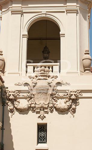 Coat of arms on the wall of City Hall, Pasadena, California, USA.