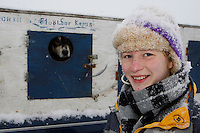 Mackenzie Davis just prior to the start of the 2009 Junior Iditarod on Knik Lake on Saturday Februrary 28, 2009.