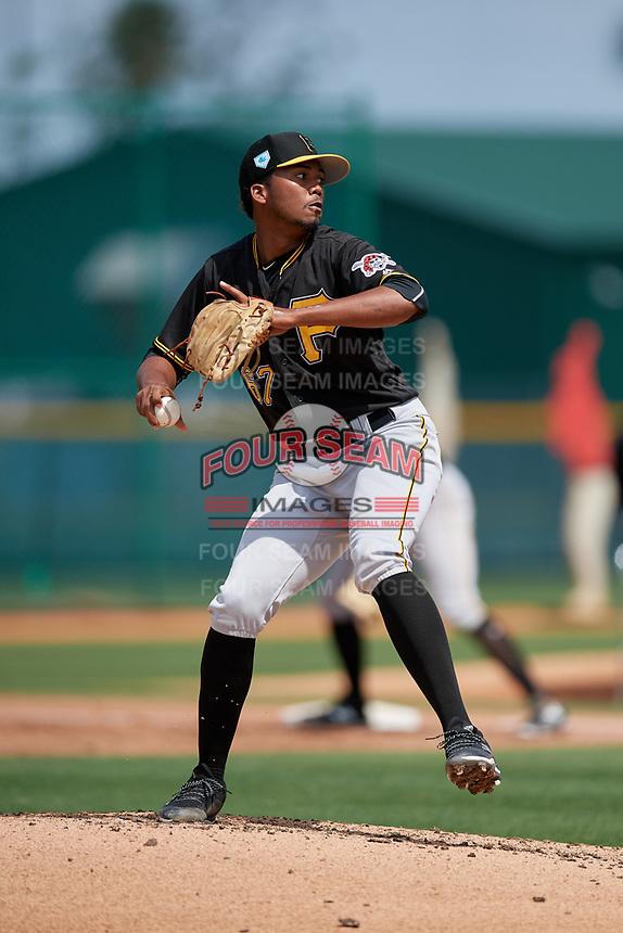 Pittsburgh Pirates Francis Del Orbe (67) during a minor league Spring Training game against the Philadelphia Phillies on March 13, 2019 at Pirate City in Bradenton, Florida.  (Mike Janes/Four Seam Images)