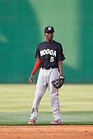 Chattanooga Lookouts shortstop Nick Gordon (5) during a game against the Jackson Generals on April 29, 2017 at The Ballpark at Jackson in Jackson, Tennessee.  Jackson defeated Chattanooga 7-4.  (Mike Janes/Four Seam Images)