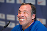 USA's Bruce Arena laughs during a news conference in Hamburg, Germany, for the 2006 World Cup, June, 8, 2006.