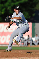Carlos Misell #34 of the Clinton LumberKings throws against the Burlington Bees at Community Field  on July 3, 2014 in Burlington, Iowa. The LumberKings beat the Bees 6-5.   (Dennis Hubbard/Four Seam Images)