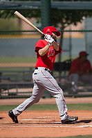 Los Angeles Angels infielder Dustin Ackley (3) follows through on his swing during an Extended Spring Training game against the Chicago Cubs at Sloan Park on April 14, 2018 in Mesa, Arizona. (Zachary Lucy/Four Seam Images)