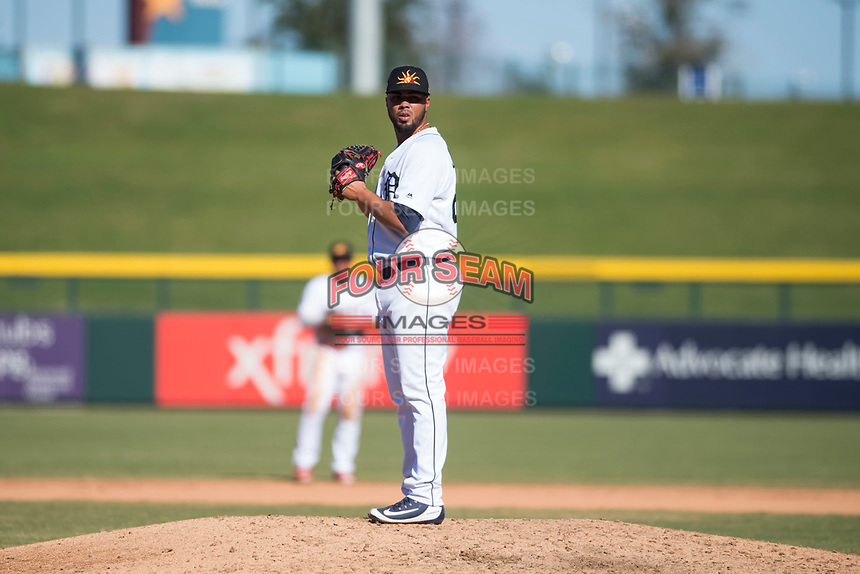 Mesa Solar Sox relief pitcher Eduardo Jimenez (66), of the Detroit Tigers organization, gets ready to deliver a pitch during an Arizona Fall League game against the Salt River Rafters at Sloan Park on November 9, 2018 in Mesa, Arizona. Mesa defeated Salt River 5-4. (Zachary Lucy/Four Seam Images)