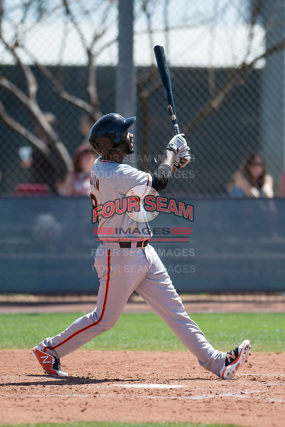 San Francisco Giants center fielder Sandro Fabian (9) during a Minor League Spring Training game against the Arizona Diamondbacks at Salt River Fields at Talking Stick on March 28, 2018 in Scottsdale, Arizona. (Zachary Lucy/Four Seam Images)