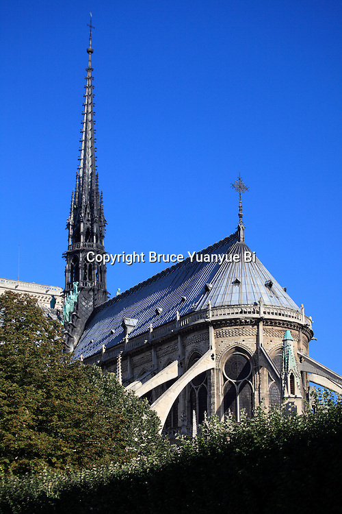 The spire and flying buttresses at the east end of the Notre Dame cathedral. city of Paris. Paris. France