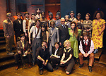 "Reeve Carney, Eva Noblezada, Andre de Shields, Patrick Page, Amber Gray, David Neumann, Anais Mitchell and Rachel Chavkin with the cast during the Broadway Press Performance Preview of ""Hadestown""  at the Walter Kerr Theatre on March 18, 2019 in New York City."
