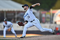 Asheville Tourists starting pitcher Ty Culbreth (38) delivers a pitch during a game against the Lakewood BlueClaws at McCormick Field on June 2, 2017 in Asheville, North Carolina. The Tourists defeated the BlueClaws 7-5. (Tony Farlow/Four Seam Images)