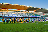 SYDNEY, AUSTRALIA - JULY 31, 2010: Teams shaking hands at the match between AEK Athens FC and Glasgow Rangers during the 2010 Sydney Festival of Football held at the Sydney Football Stadium on July 31, 2010 in Sydney, Australia. (Photo by Sydney Low / www.syd-low.com)