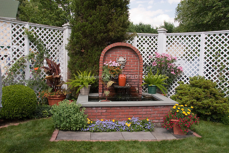 Garden Fence, Water Fountain, Grass, annual flowers