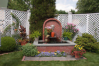 Garden Fence, Water Fountain, Grass, annual flowers
