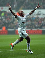 Andre Ayew of Swansea City celebrates his opening goal during the Barclays Premier League match between Swansea City and Liverpool at the Liberty Stadium, Swansea on Sunday May 1st 2016