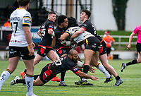 Josh Walters of London Broncos , Paulos Latu of London Broncos and Josh Hodson of London Broncos during the Betfred Challenge Cup match between London Broncos and York City Knights at The Rock, Rosslyn Park, London, England on 28 March 2021. Photo by Liam McAvoy.