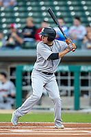 Breyvic Valera (7) of the Scranton/Wilkes-Barre RailRiders at bat at Victory Field on May 14, 2019 in Indianapolis, Indiana. The Indians defeated the RailRiders 4-2. (Andrew Woolley/Four Seam Images)