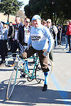 Old timer on his vintage Bianchi before the start of Strade Bianche 2019 running 184km from Siena to Siena, held over the white gravel roads of Tuscany, Italy. 9th March 2019.<br /> Picture: Seamus Yore   Cyclefile<br /> <br /> <br /> All photos usage must carry mandatory copyright credit (© Cyclefile   Seamus Yore)