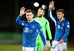 St Johnstone v Hearts…30.10.19   McDiarmid Park   SPFL<br />Anthony Ralston and Murray Davidson wave to the crowd at full time<br />Picture by Graeme Hart.<br />Copyright Perthshire Picture Agency<br />Tel: 01738 623350  Mobile: 07990 594431
