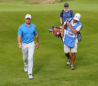 160719 | The 148th Open - Tuesday Practice<br /> <br /> Rory Mcilroy with is caddie Harry Diamond and coach Michael Bannon on the 15th green during practice for the 148th Open Championship at Royal Portrush Golf Club, County Antrim, Northern Ireland. Photo by John Dickson - DICKSONDIGITAL