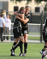 Leigh Ann Robinson (7) is congratulated by Carie Dew (19) after scoring the winning goal against Sky Blue FC, at Buck Shaw Stadium, in Santa Clara, Calif., Sunday, May 3, 2009.