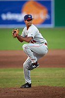 Auburn Doubledays relief pitcher Angel Guillen (44) delivers a pitch during a game against the Batavia Muckdogs on June 28, 2018 at Dwyer Stadium in Batavia, New York.  Auburn defeated Batavia 14-9.  (Mike Janes/Four Seam Images)