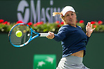 March 9, 2019: Yulia Putintseva (KAZ) hits a forehand in a match where she was defeated by Angelique Kerber (GER) 6-0, 6-2 at the BNP Paribas Open at the Indian Wells Tennis Garden in Indian Wells, California. ©Mal Taam/TennisClix/CSM