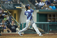 Nick Quintana (10) of the West Michigan Whitecaps follows through on his swing against the Fort Wayne TinCaps at Parkview Field on August 5, 2019 in Fort Wayne, Indiana. The TinCaps defeated the Whitecaps 9-3. (Brian Westerholt/Four Seam Images)
