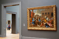 NEW YORK, NEW YORK - MARCH 19: A man sits in a room at The MET Museum on March 19, 2021 in New York. The Met Museum is considering selling some of its works to support itself after claming that the pandemic has caused a loss of revenue of $150 million in about 18 months. (Photo by John Smith/VIEWpress)