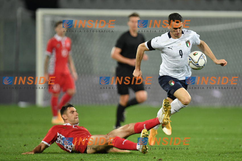 Kevin Lasagna of Italia and Igor Armas of Moldova celebrates after scoring the 6-0 goal during the friendly football match between Italy and Moldova at Artemio Franchi Stadium in Firenze (Italy), October, 7th 2020. Photo Andrea Staccioli/ Insidefoto