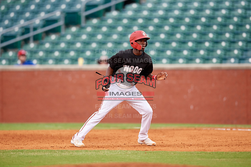 Chattanooga Lookouts second baseman Nick Gordon (1) leads off first base during a game against the Jackson Generals on May 9, 2018 at AT&T Field in Chattanooga, Tennessee.  Chattanooga defeated Jackson 4-2.  (Mike Janes/Four Seam Images)