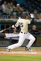 Logan Harvey (15) of the Wake Forest Demon Deacons follows through on his swing against the Charlotte 49ers at BB&T BallPark on March 13, 2018 in Charlotte, North Carolina.  The 49ers defeated the Demon Deacons 13-1.  (Brian Westerholt/Four Seam Images)