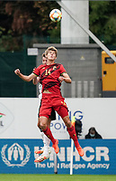 Belgium's Charles De Ketelelaere (14) heads the ball during a soccer game between the national teams Under21 Youth teams of Belgium and Germany on the 5th matday in group 9 for the qualification for the Under 21 EURO 2021 , on tuesday 8 th of September 2020  in Leuven , Belgium . PHOTO SPORTPIX.BE   SPP   SEVIL OKTEM