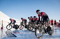 Team Ineos at the stage start at the salt lake (factory) in Torrevieja <br /> <br /> Stage 1 (TTT): Salinas de Torrevieja to Torrevieja (13.4km)<br /> La Vuelta 2019<br /> <br /> ©kramon