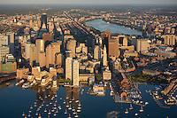 aerial, sunrise harbor waterfront,  Boston, MA