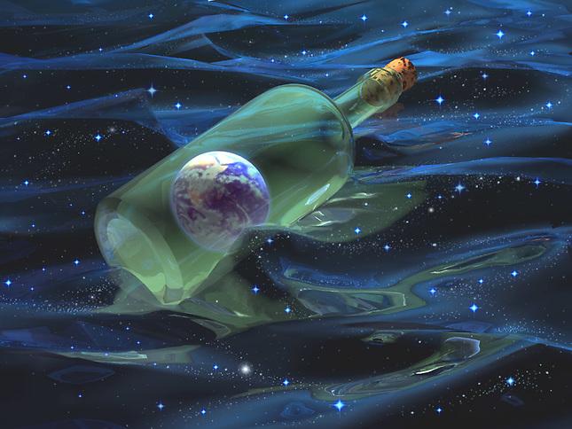 Earth in a bottle floating in space