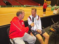 11-sept.-2013,Netherlands, Groningen,  Martini Plaza, Tennis, DavisCup Netherlands-Austria, Practice,  AustrianTV interviews Dutch captain Jan Siemerink <br /> Photo: Henk Koster