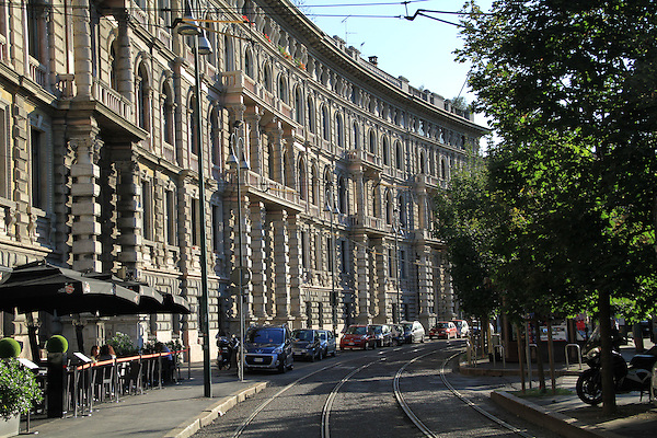 Railroad in downtown Milan, Italy.