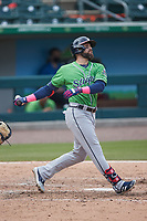 Ender Inciarte (53) of the Gwinnett Stripers at bat against the Charlotte Knights at Truist Field on May 9, 2021 in Charlotte, North Carolina. (Brian Westerholt/Four Seam Images)