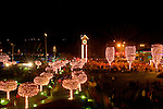 Idaho, North, Coeur d'Alene. Holiday lighting ceremony on the grounds of the Coeur d'Alene resort.