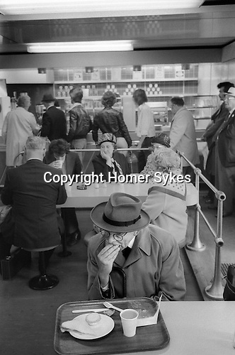 Older man eating his cafe lunch at Waterloo Train Station cafeteria London 1978. 1970s UK