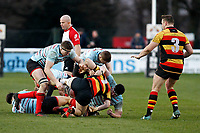 Team mates protect Markus Burcham of Blackheath Rugby as he presents the ball during the English National League match between Richmond and Blackheath  at Richmond Athletic Ground, Richmond, United Kingdom on 4 January 2020. Photo by Carlton Myrie.