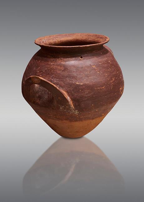 Hittite  terra cotta pot woth two handles. Hittite Period, 1600 - 1200 BC.  Hattusa Boğazkale. Çorum Archaeological Museum, Corum, Turkey