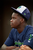 Vermont Lake Monsters Lawrence Butler (1) before a NY-Penn League game against the Aberdeen IronBirds on August 19, 2019 at Leidos Field at Ripken Stadium in Aberdeen, Maryland.  Aberdeen defeated Vermont 6-2.  (Mike Janes/Four Seam Images)