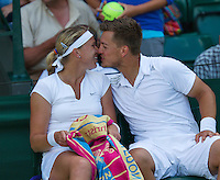 England, London, 27.06.2014. Tennis, Wimbledon, AELTC, Michaella Krajicek (NED) with her doubles and love partner who last week openly proposed to her Martin Emmrich (GER)<br /> Photo: Tennisimages/Henk Koster