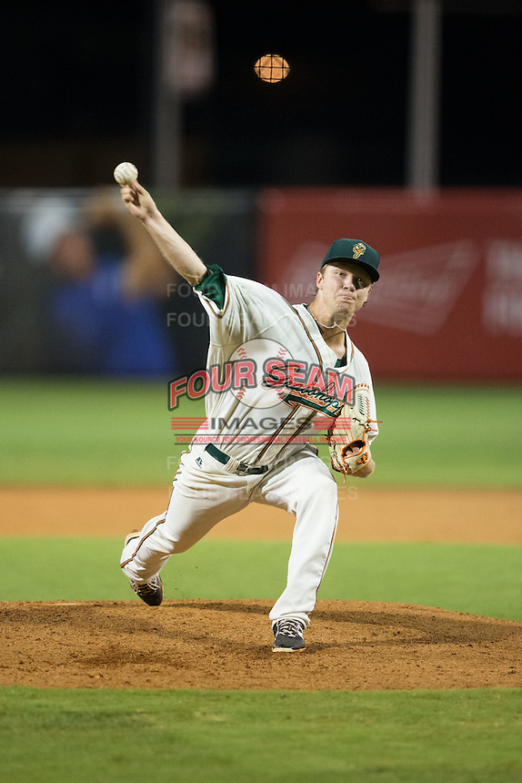 Greensboro Grasshoppers starting pitcher Steven Farnworth (44) in action against the Kannapolis Intimidators at NewBridge Bank Park on July 7, 2016 in Greensboro, North Carolina.  The Dash defeated the Pelicans 13-9.  (Brian Westerholt/Four Seam Images)